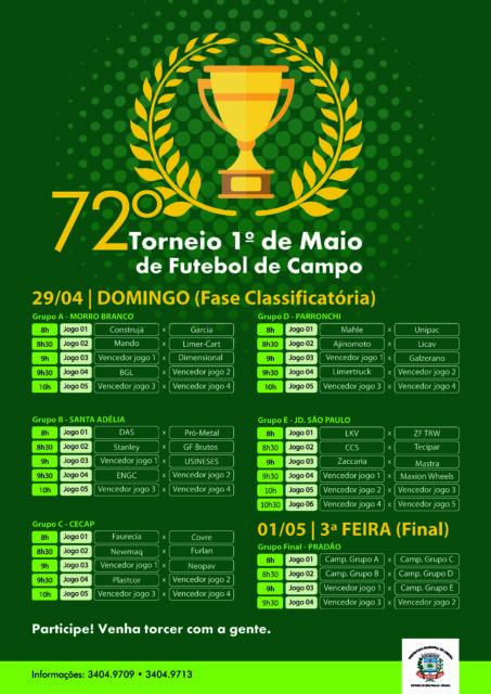 1º DE MAIO: definidos os grupos do Futebol de Campo
