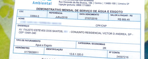 CONTA DE ÁGUA: Usuário registra aumento de 395,5% em três meses